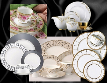 Complete Elegant Fine Bone China Table Setting For 12