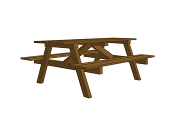 Wooden Picnic Table with Wooden Benches