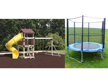 Backyard Swing and Slide Set with Trampoline
